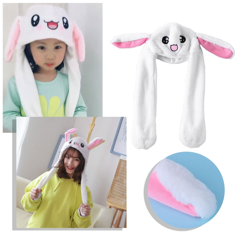 Rabbit Hat Ear Moving Jumping Hat,Plush Bunny Hat Winter Spring Warm Hat Fits Adults Kids