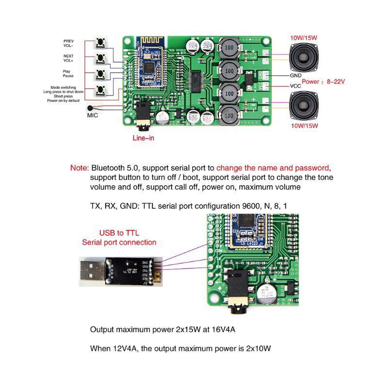 SEL♥Bluetooth 5 0 Power Amplifier Board 2x15W/10W AUX Audio Input DC 8-22V