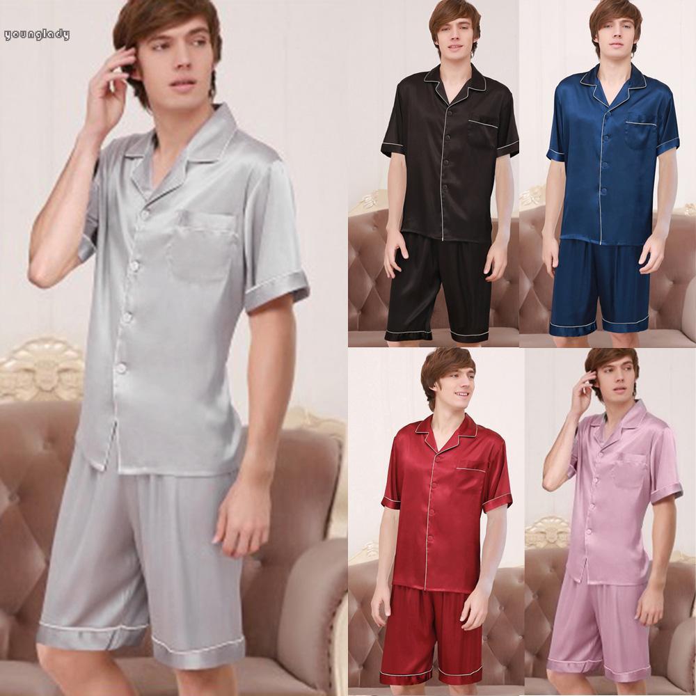 Details about  /Womens Silk Pajamas Set Sleepwear Short Sleeves Satin Tops Shorts Soft Nightwear