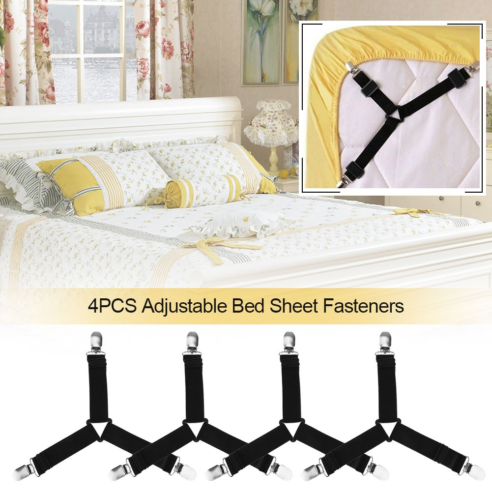4x Sheet Clips Bed Suspender Straps Fastener Holder Triangle Grippers Home Tool