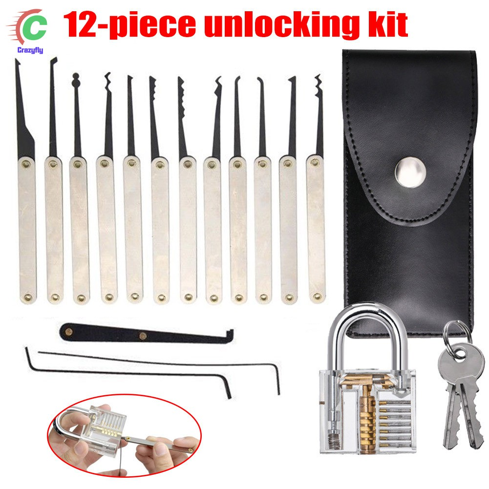 25 Pcs Transparent Slotted Practice Padlock Lock Pick Set Shopee 10pcs Lockpick Training Tool Singapore
