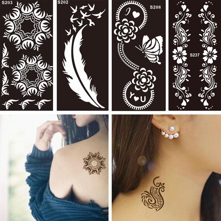 1 Sheet Black Flower Style Henna Stencil Body Art Temporary Tattoo Sticker Paper Shopee Singapore