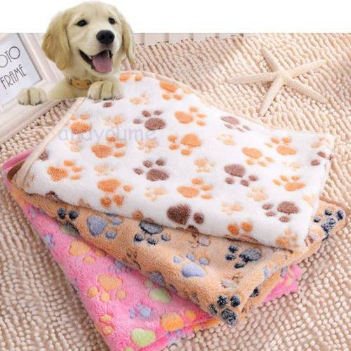 Warm Pet Mat Floral Paw Print Dog Puppy Fleece Soft Pet Blanket Beds  Blanket Bed Cushion