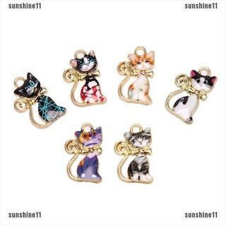 10Pcs//Set Enamel Alloy Animal Teacup Cat Charms Pendant Jewelry Craft DIY Mak JE