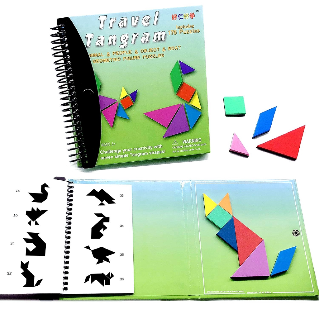 7c55ff3c1 Tangram Game 176 Magnetic Puzzle and Questions Build Animals Education book