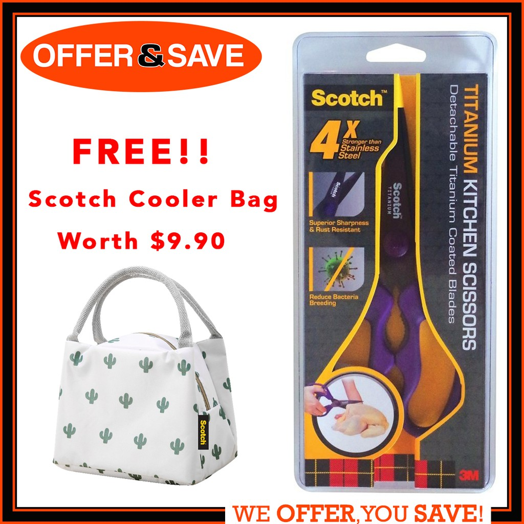 [FREE Scotch Cooler Bag] 3M Scotch Detachable Titanium Kitchen Scissor  (Assorted Color) (KS-DTR/DT)