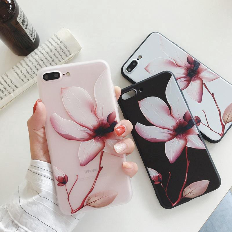 iphone XSMAX Cover XR 6S 7 8 Plus fashion Emboss Flowers