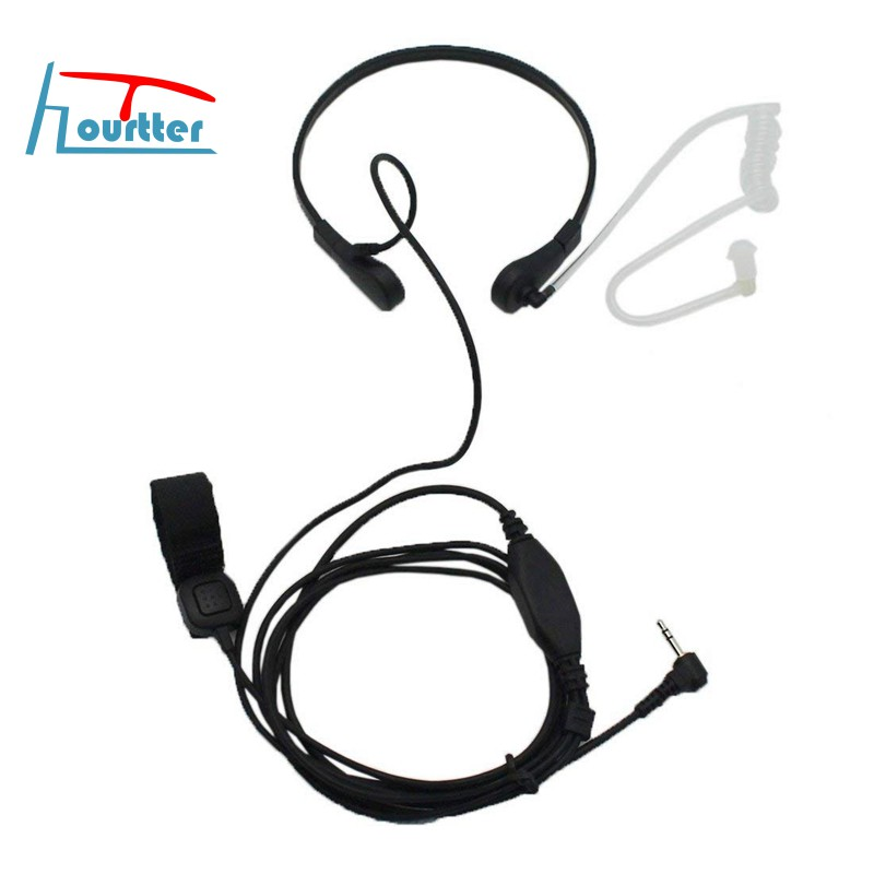 1 Pin Headset Acoustic Tube Earpiece 3.5mm Microphone Plug For Radio Security