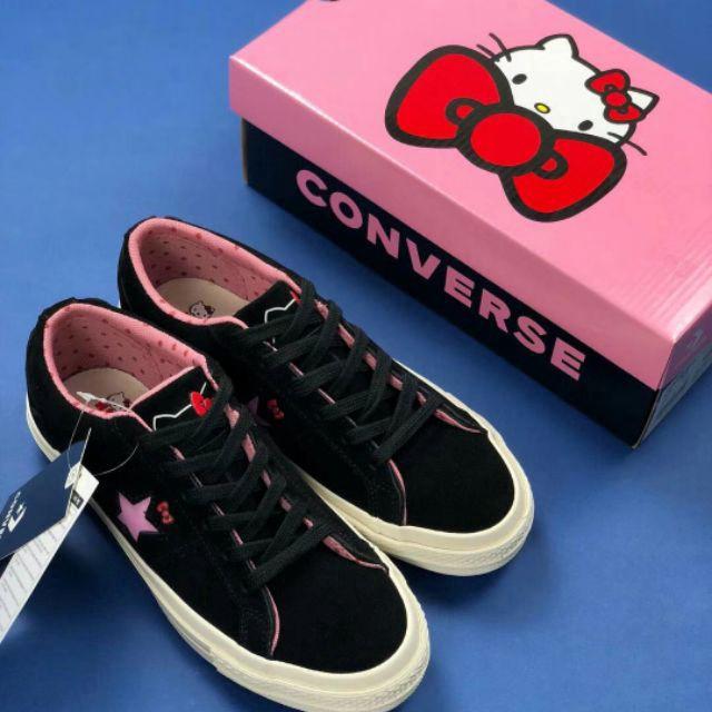 eda323d4667 Converse x Hello Kitty One Star Suede Low Black Sanrio Women Shoe Sn ...