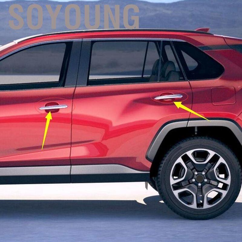 8PCS Black titanium Outer Door Handle Bowl Cover Trim For Toyota RAV4 2016-2018