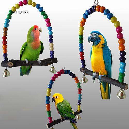 47ee556a27 MIT_Colorful Bird Toy Parrot Swing Cage Stand Frame Cockatiel Budgie  Hanging Hammock