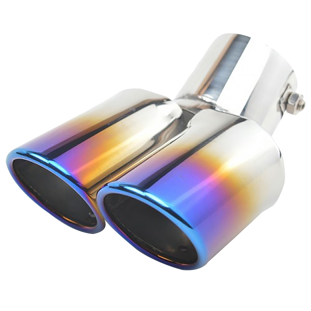 Universal Blue Stainless Steel Car Rear Dual Exhaust Pipe Tail Muffler Tip New