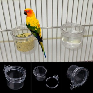 Acrylic Bird Feeder Clear Food Parrot Cage Bowl Transparent