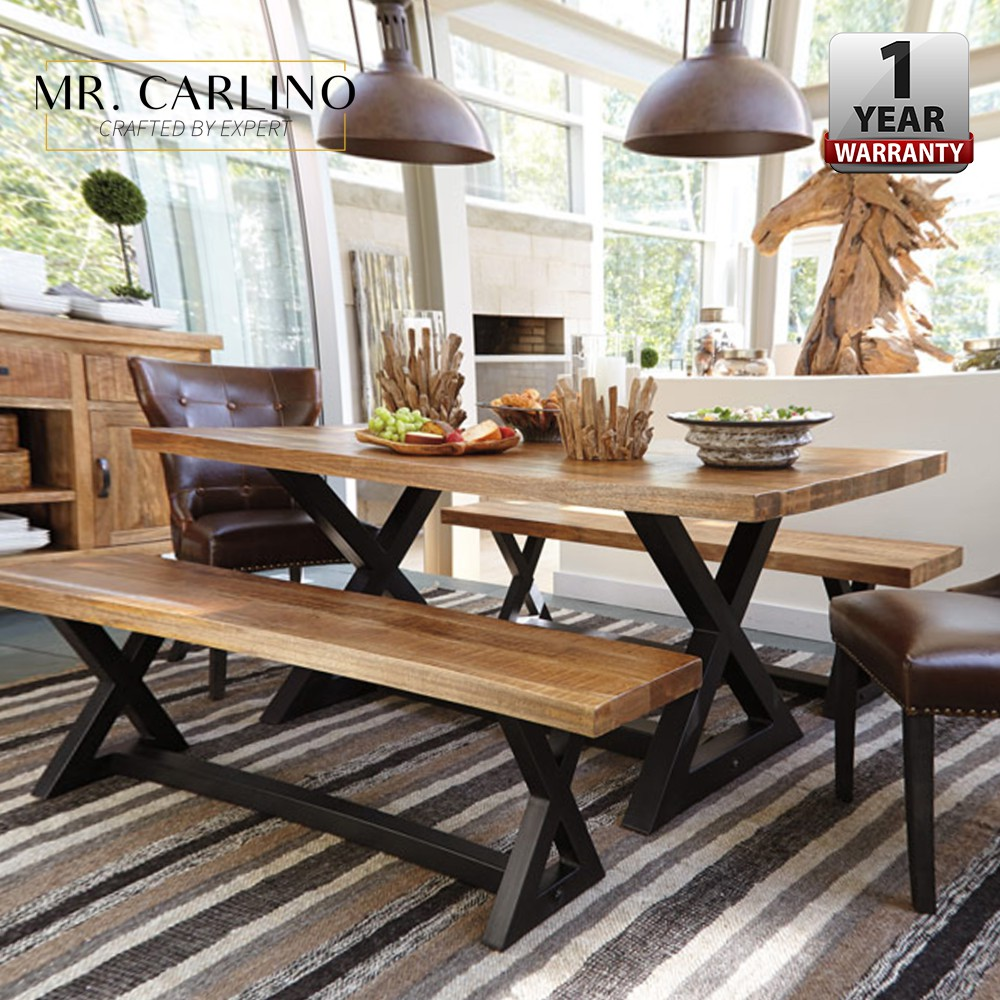 Thick Solid Rubber Wood Dining Table