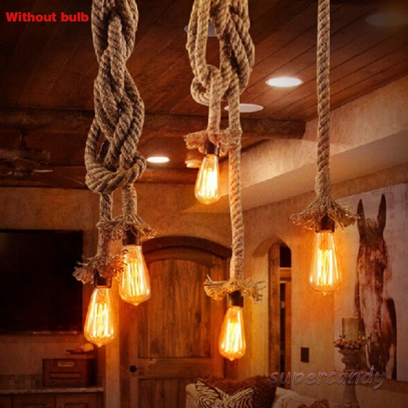 Single Heads Rope Pendant Lights Lamp