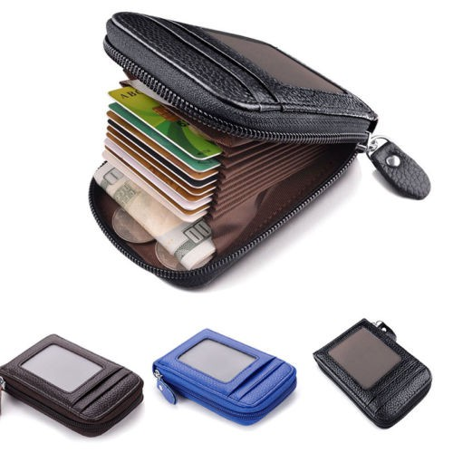 RFID Blocking Mens Genuine Leather Wallet Credit Card Holder Zipper Pocket