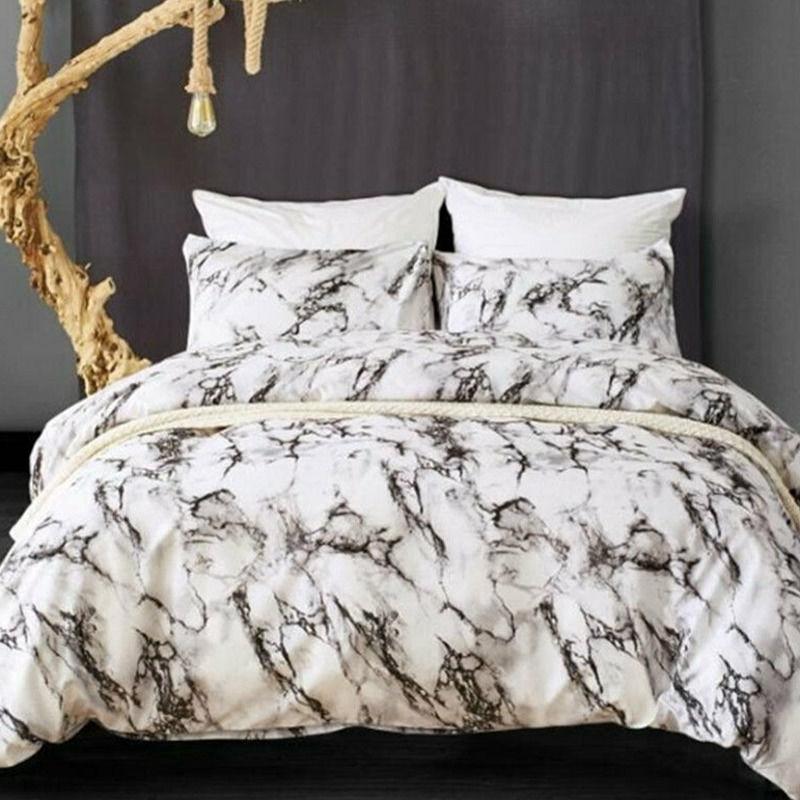 3pcs Marble Style Bedding Set Duvet Quilt Cover Pillowcase Twin