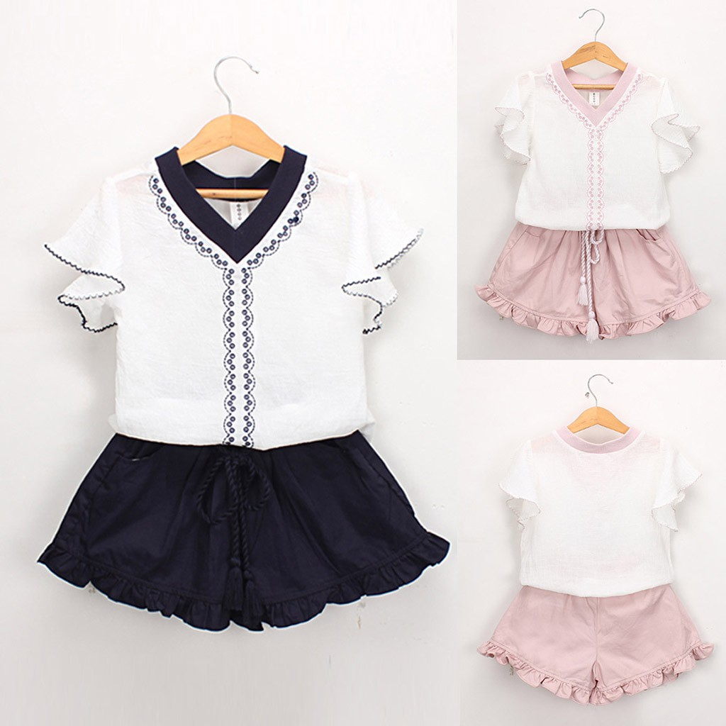 Details about  /Toddler Baby Kids Heart Striped Print T-shirt Tops Ruched Short Pants Set Outfit