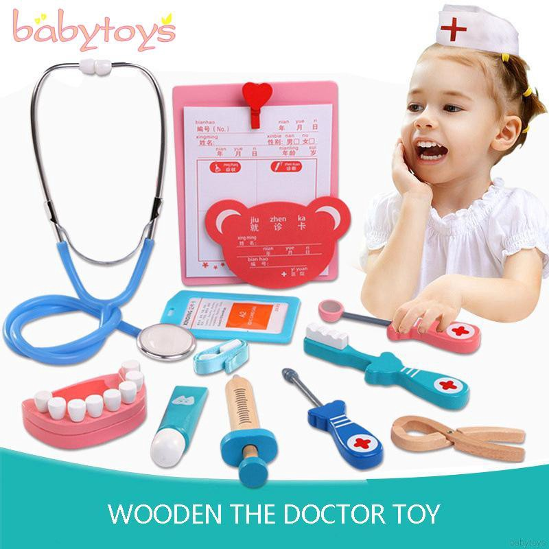 Kids Wooden Dentist Play-set Role Play Kit Pretend Simulation Dental Tool Gift