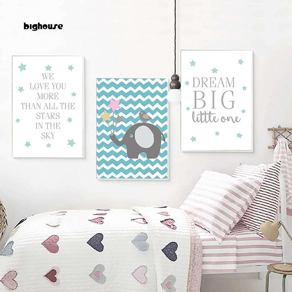 Bighouse Nordic Cartoon Elephant Letters Canvas Poster Wall Painting Kids Bedroom Decor Shopee Singapore