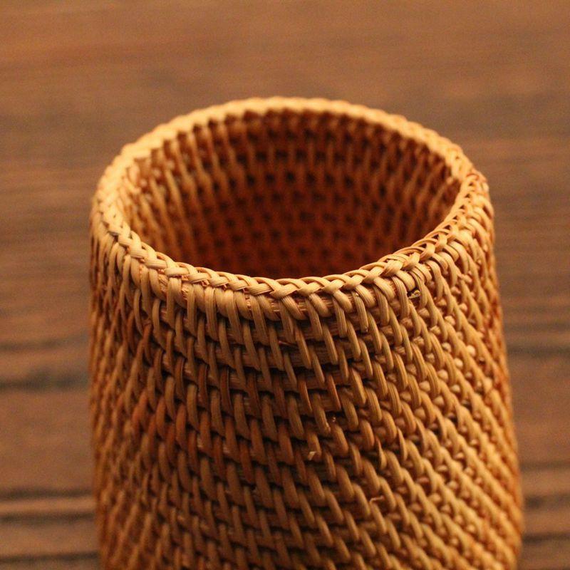 Pen Holder Rattan Pencil Organizer Tea Accessories Storage Pencil Pot 10cm