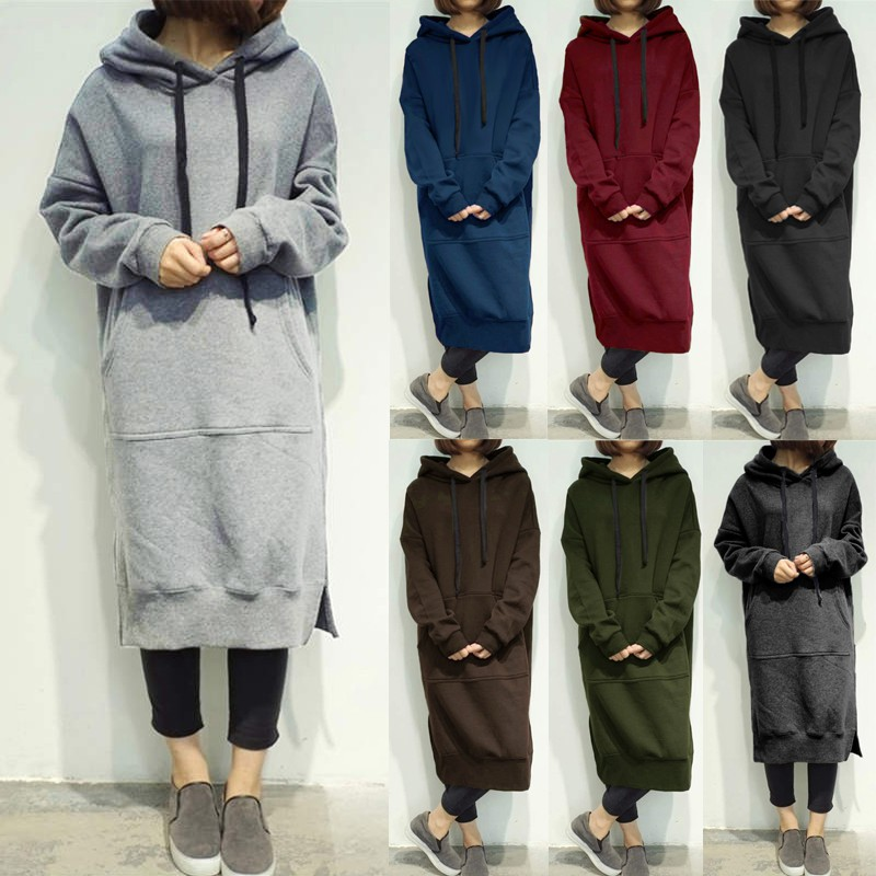 ZANZEA UK Womens Hooded Long Sleeve Casual Loose Hoodies Sweatshirts Midi Dress