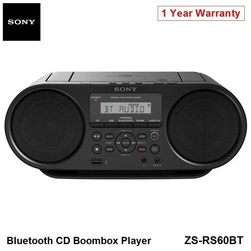 Sony ZS-RS60BT Portable Bluetooth CD Boombox Mp3 Music USB AM FM Tuner  Player Speaker