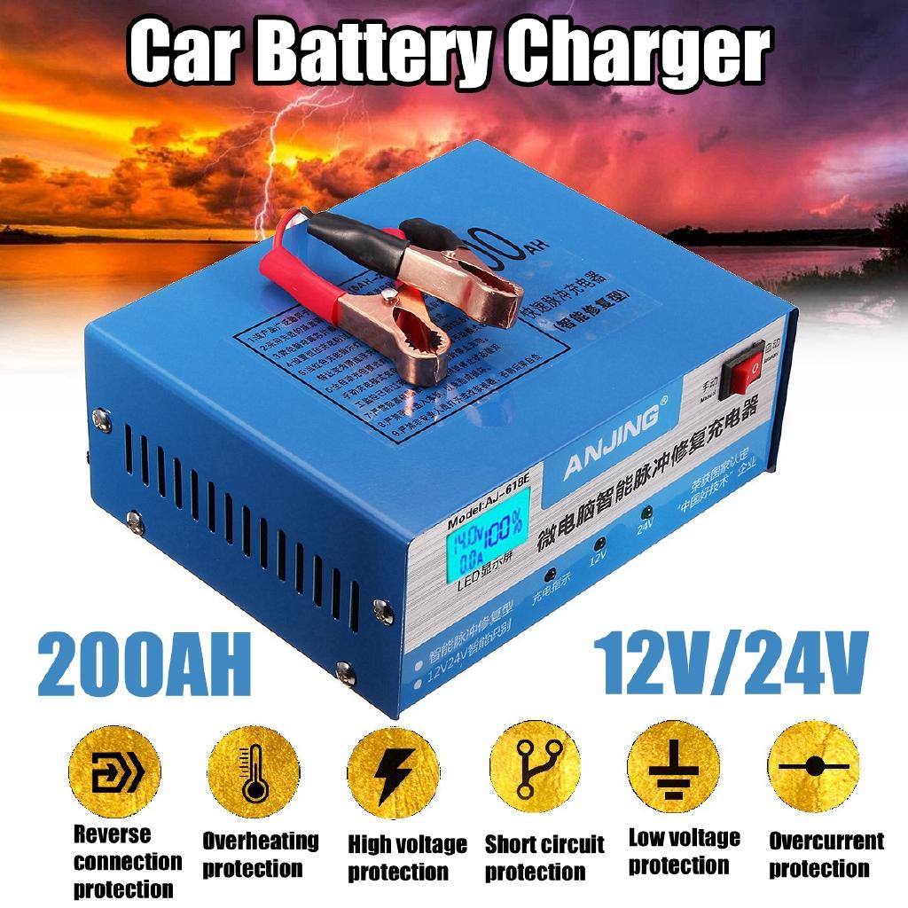 Car Battery Charger Automatic Intelligent Pulse Repair 130v 250v Short Circuit 200ah 12 24v Shopee Singapore