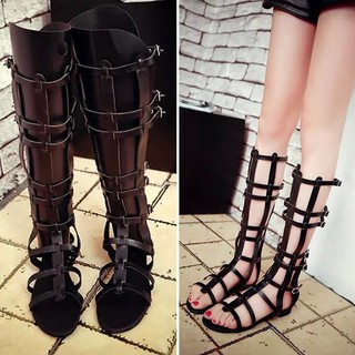4d0f98c24c Womens Strappy Open Toe Gladiator Sandals Knee High Boots Flat Zipper Up  Shoes | Shopee Singapore