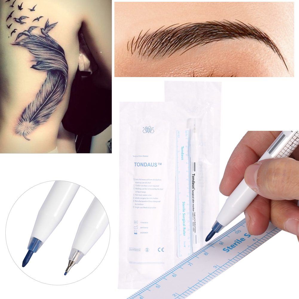2pcs Set Surgical Tattoo Piercing Skin Marker Positioning Body Art Pen Rulers Shopee Singapore