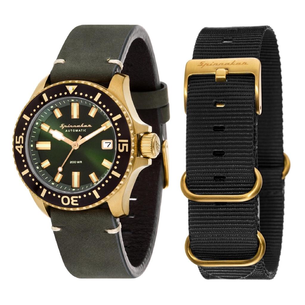 db230816558 Spinnaker SP-5039-01 Men s Black Genuine Leather Strap Nylon Nato Strap  Watch