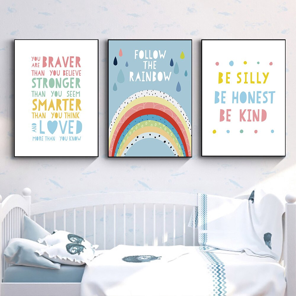 Watercolor Quote Canvas Painting Pink Rainbow Poster Nursery Wall Art Prints Kids Poster Nordic Wall Picture Baby Kids Room Decor Unframed Shopee Singapore