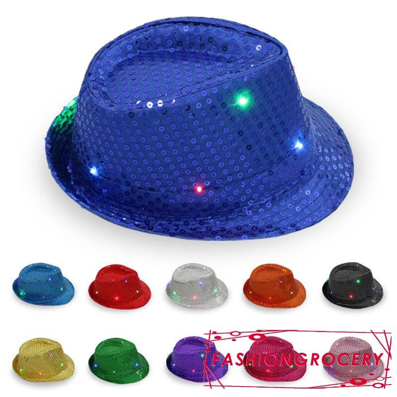 FEDORA HATS PARTY HAT LIGHTS SALE! PINK SEQUIN FLASHING L.E.D