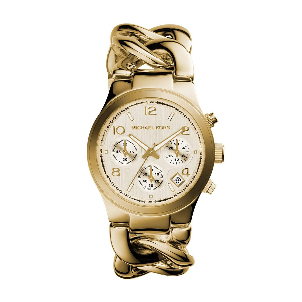 168515137b9e Original MK Michael Kors Chain Link Acrylic Gold-tone Ladies Watch MK4222