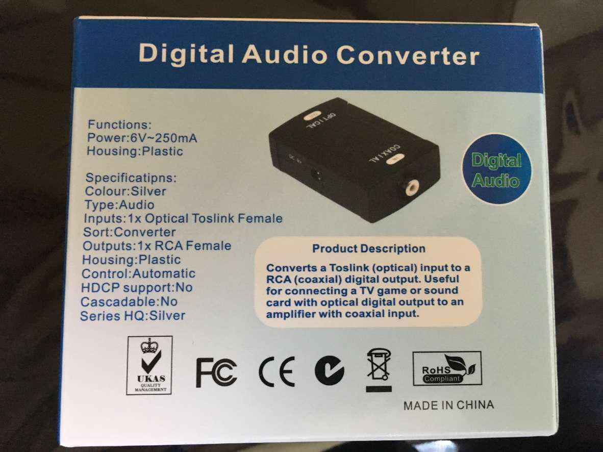 Coax Coaxial RCA to Optical TOSlink SPDIF Digital Audio Converter