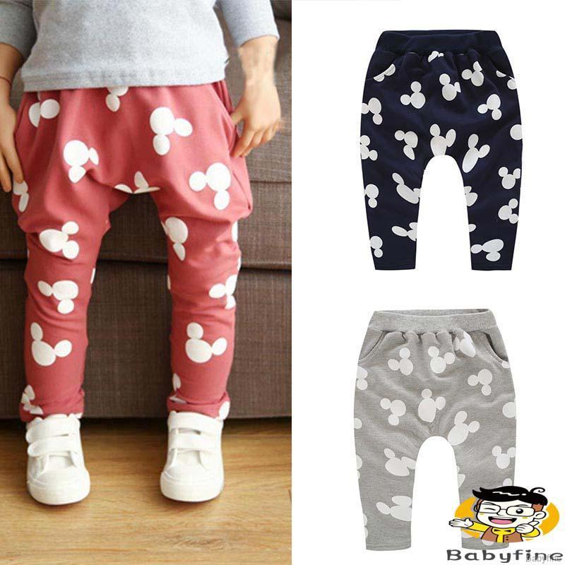 Kids Boy Mickey Mouse Casual Slacks Harem Baby Pants Joggers Trousers Sweatpants