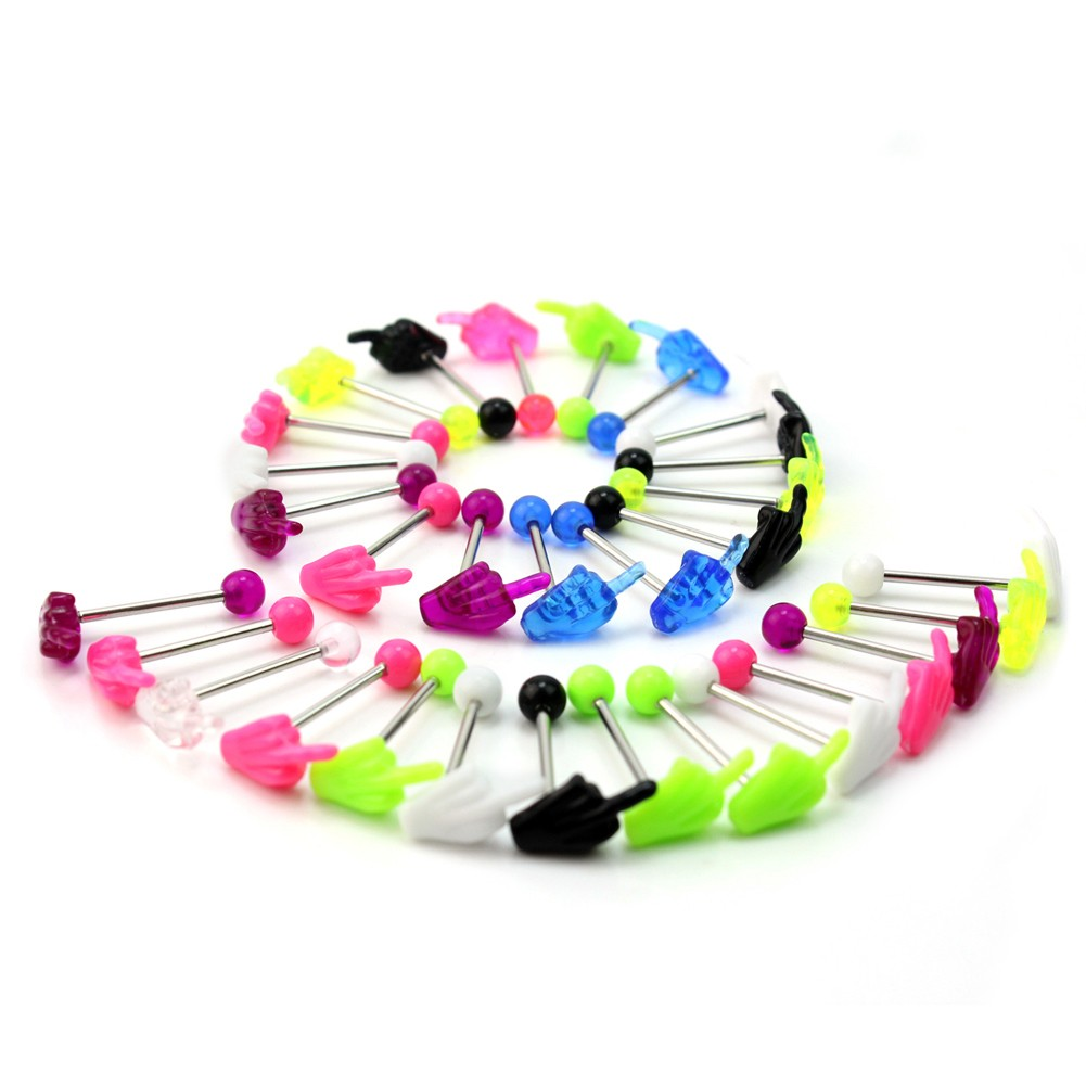 30 Pcs Hand Tongue Bars Rings Barbell Body Piercing Jewelery Mixed Color New