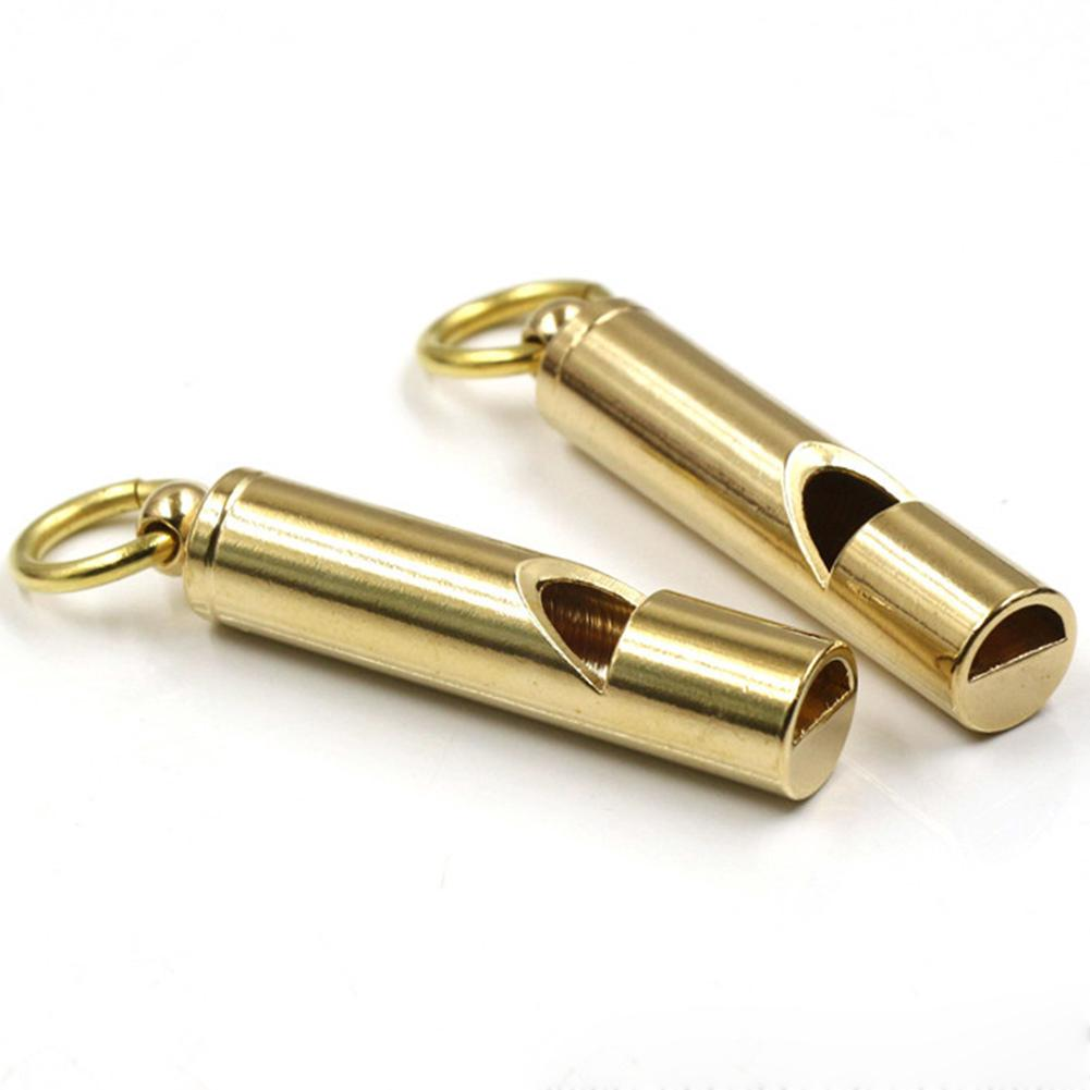 Mini Pocket Outdoor Emergency Survival Whistle Metal Brass High Decibel Tool