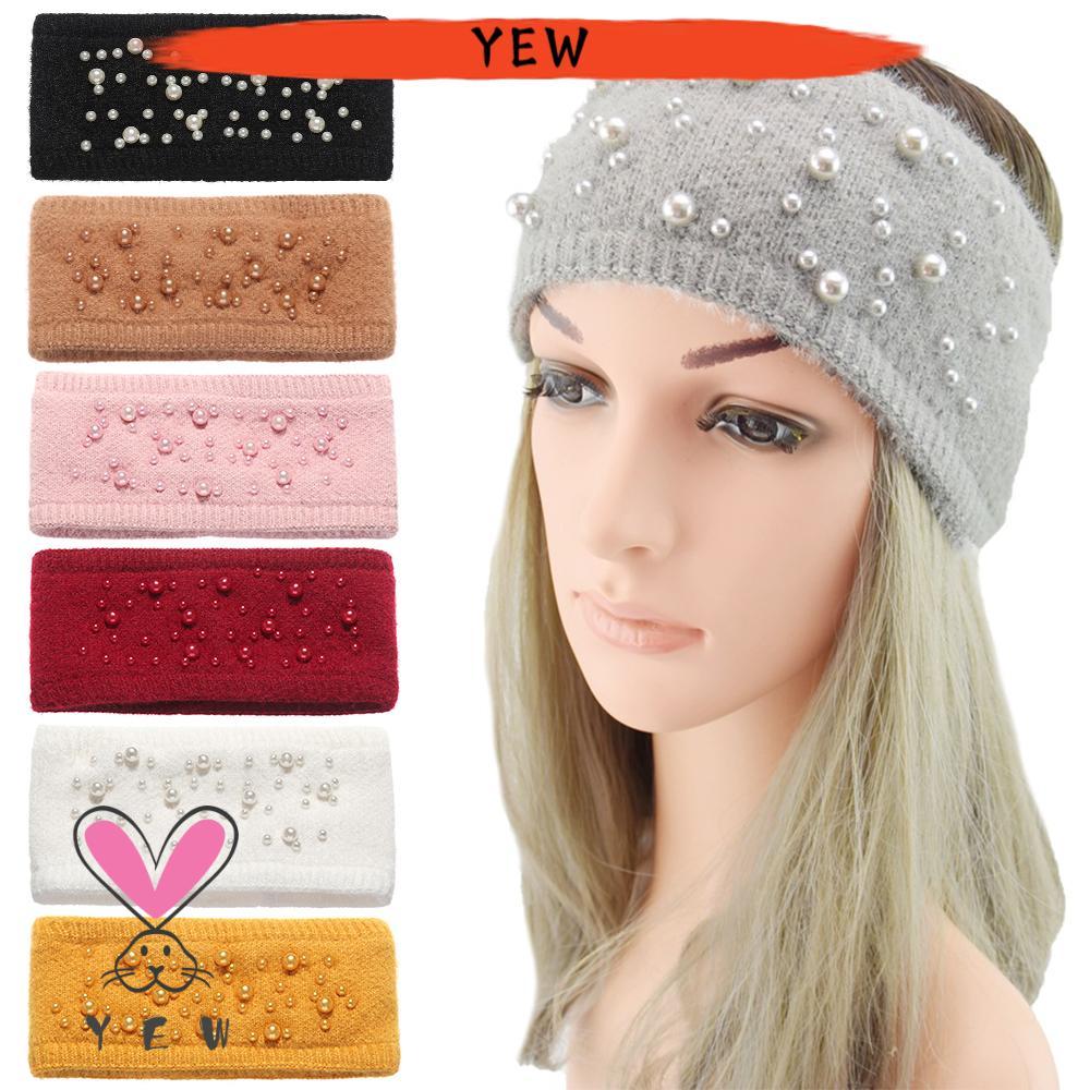 Hair Accessories Wide Pearl Winter Headbands Headwear Ear Warmer Stretch Turban