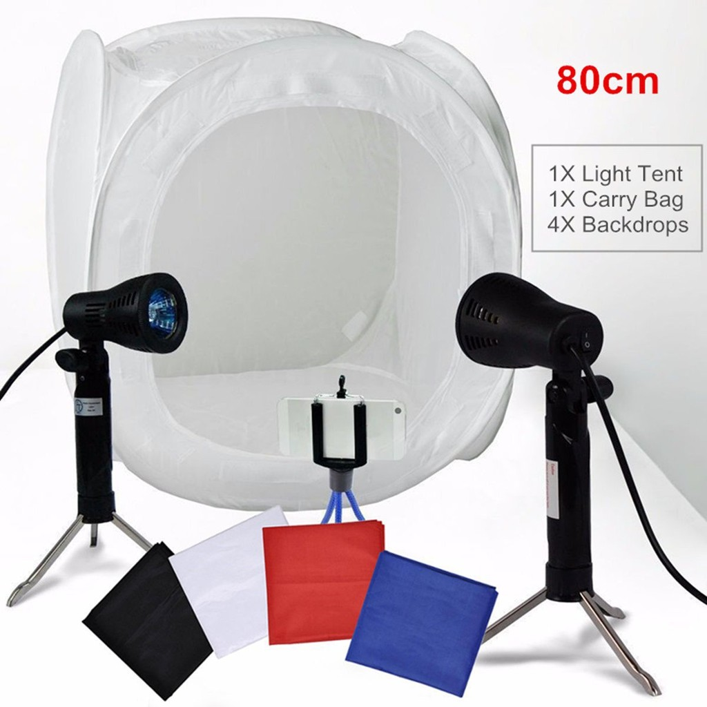 1616 Portable Led Photo Studio Light Tent Softbox Camera Shooting Shed Cube With 4 Colored Background 80 X Room Diy Shopee Singapore