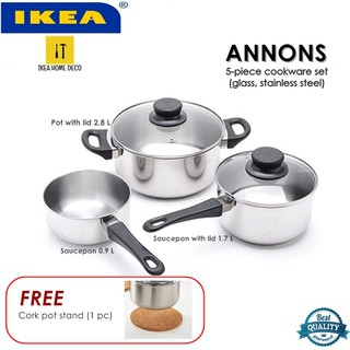 ANNONS Pot with lid Glass//stainless steel 2.8 l  Stainless steel-IKEA-Brand New