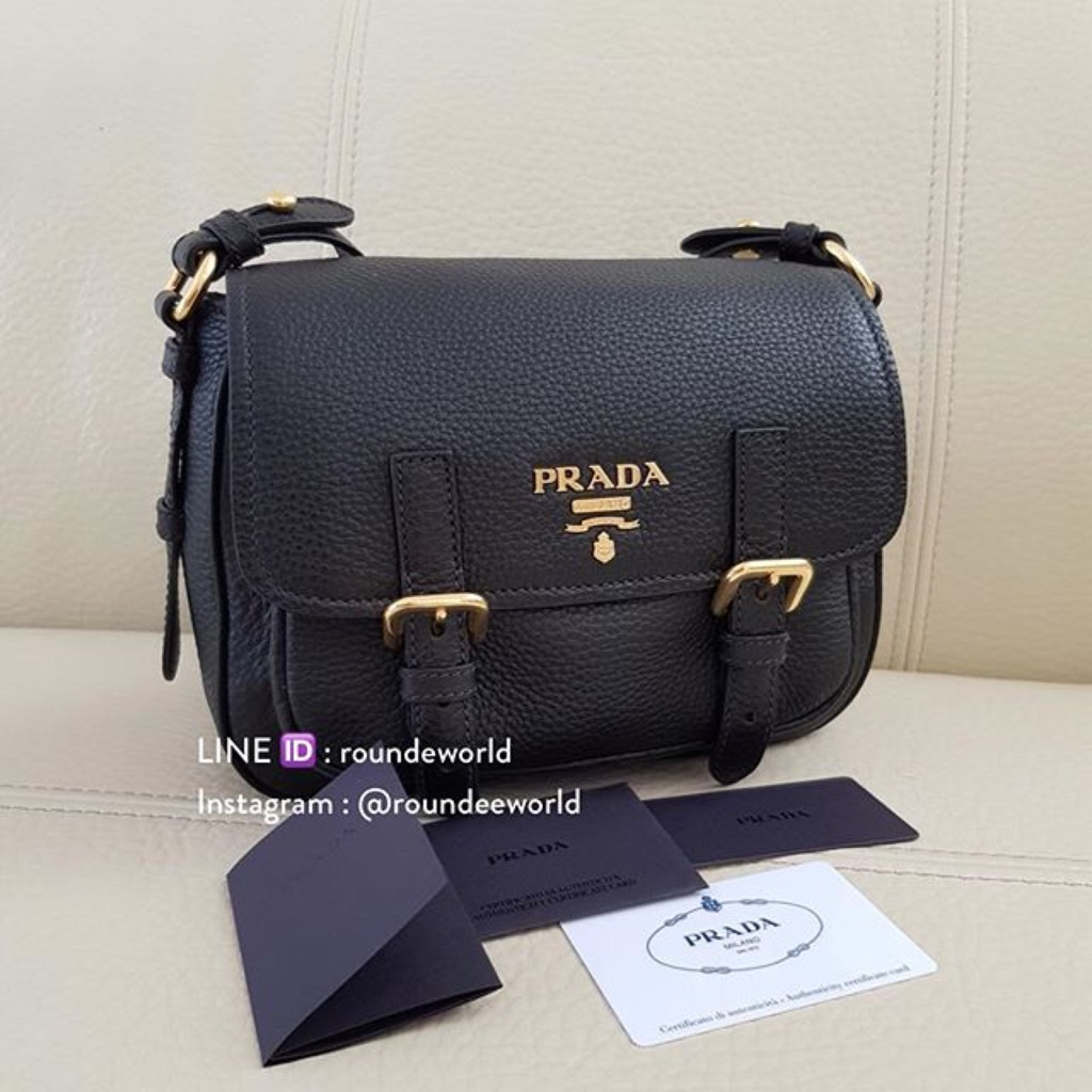 Prada Vitello Daino Messenger Bag 1BD092 - Black   Shopee Singapore 6fc7902164