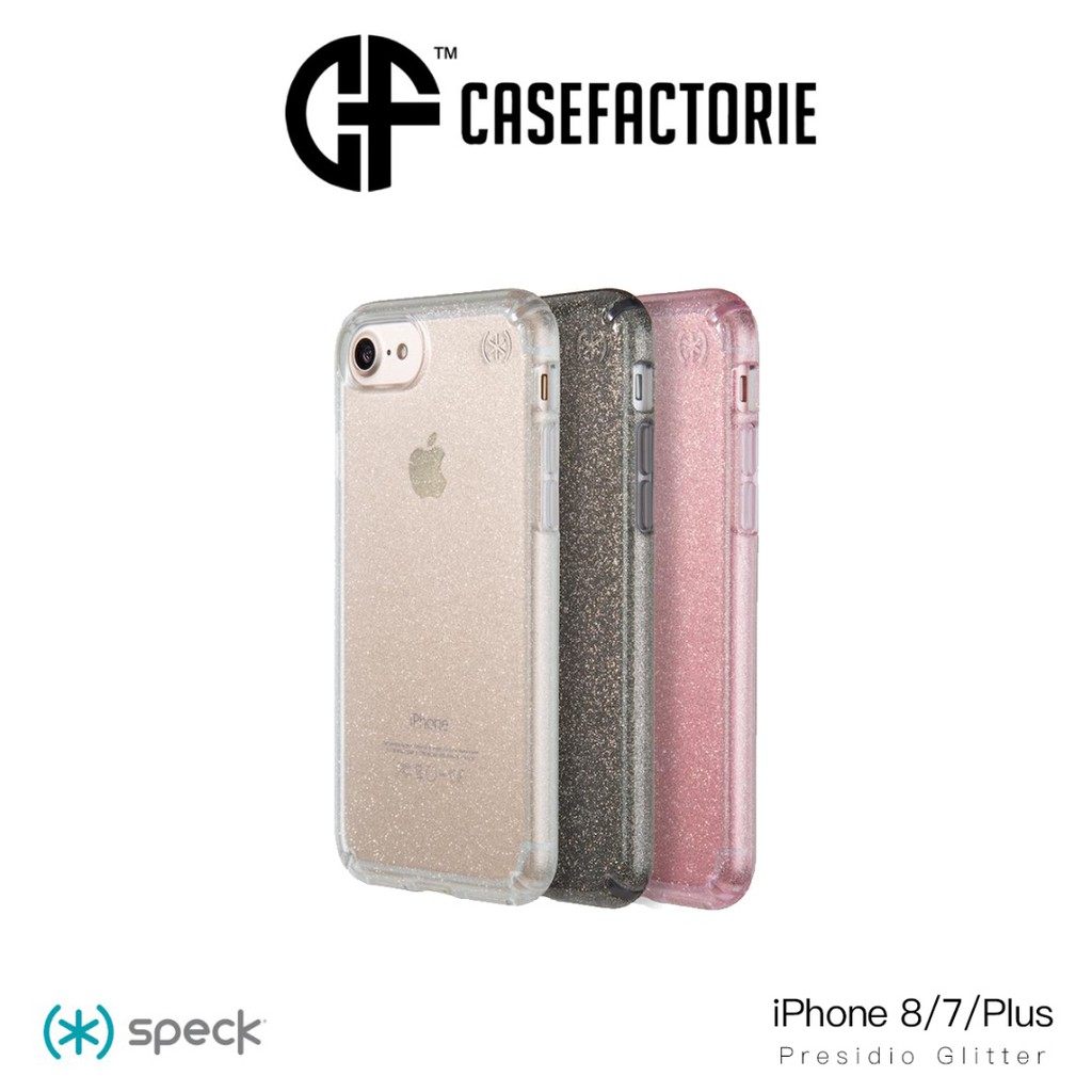 new arrival 66e36 b495a SPECK Presidio Clear Glitter Series Case for iPhone 8 Plus/7 Plus/6s Plus/6  Plus