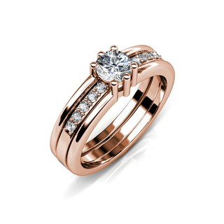 Double Ring - Rose Gold - Embellished with Crystals from Swarovski®