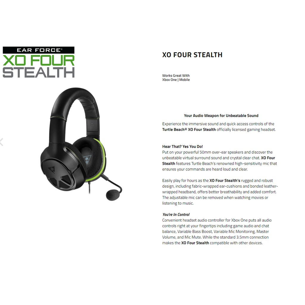 Turtle Beach XO FOUR Stealth - Gaming Headset - Xbox