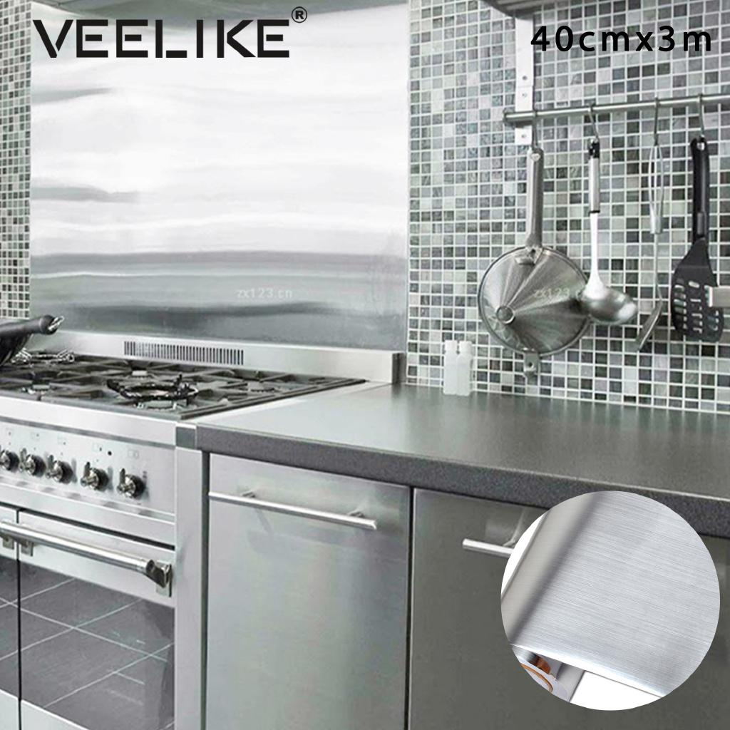 Veelike 40 300cm Waterproof Gold And Silver Diy Self Adhesive Kitchen Home Decor Wallpaper Oil Proof Wall Stickers
