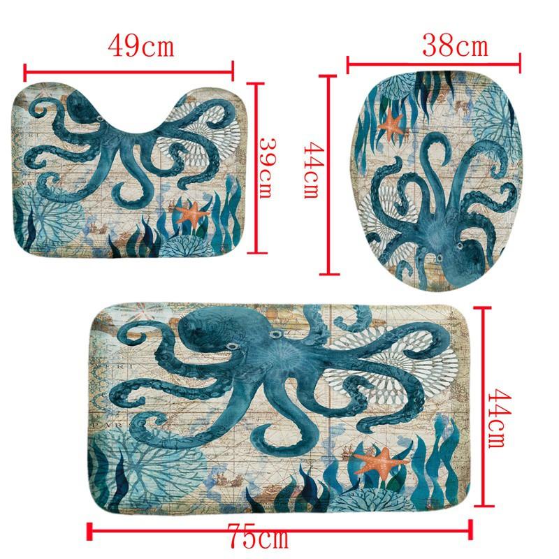 Bathroom Decor Set Octopus Pattern