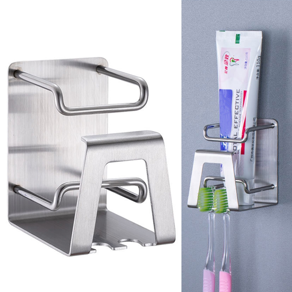 Stainless Plastic Toothbrush Holder Cup Toothpaste Wall Mount Storage Rack Stand