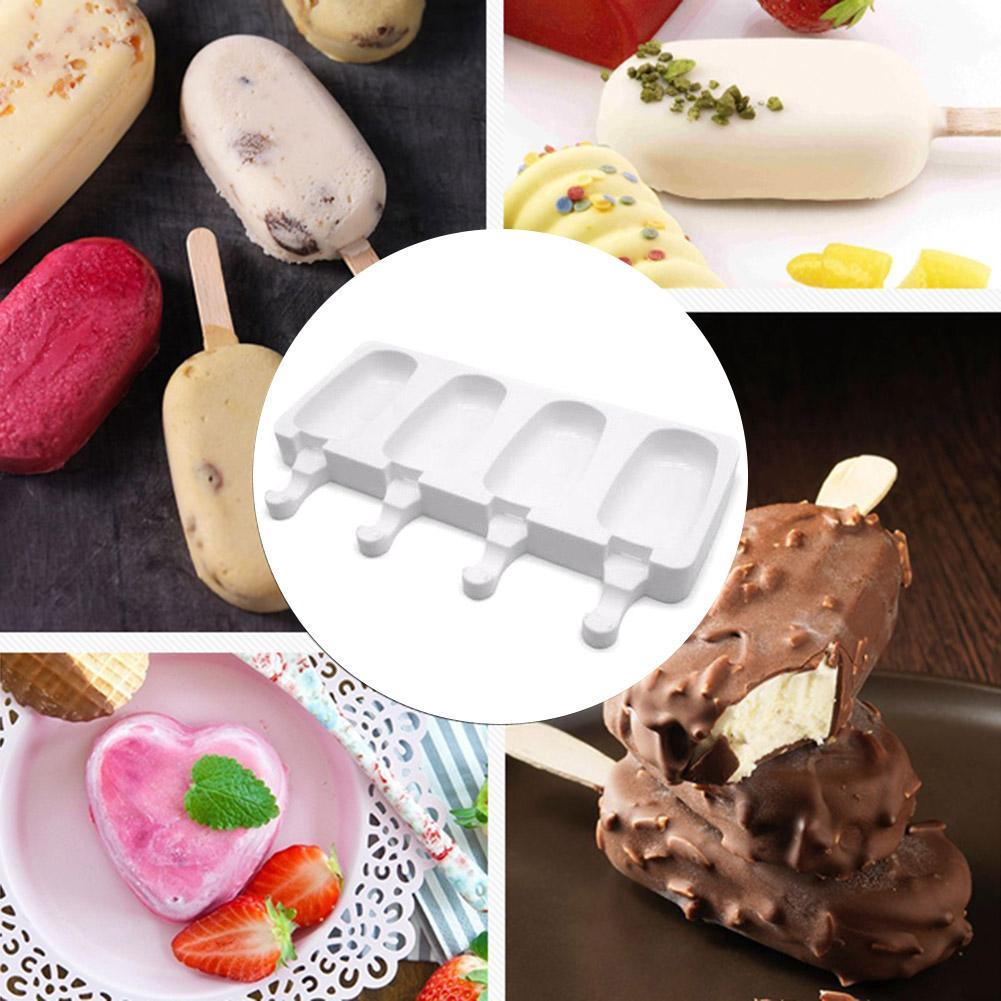 4 Cell Silicone Frozen Ice Cream Mold Popsicle Juice Maker Ice Lolly Pop Mould
