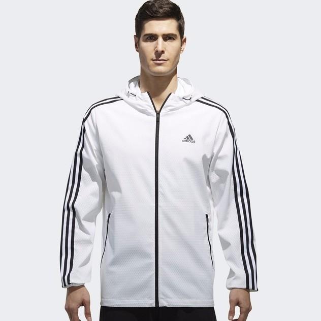 c33b635a adidas men's 3 Stripes Windbreaker Hooded Jacket
